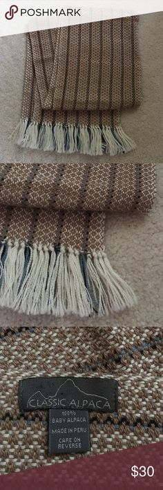 """Baby Alpaca Scarf Beautiful and very soft baby alpaca scarf in excellent condition. Measures 9"""" wide x 69"""" long, 74"""" long including fringes. Made in Peru. Classic Alpaca Accessories Scarves & Wraps"""