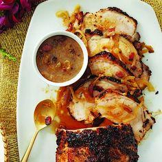 roast pork loin with bacon and gravy