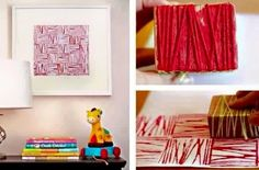 yarn block painting Modern Parents Messy Kids: Elsewhere: A New Art Technique to Try, Decor DIYs & A New Gig Diy Wall Painting, Block Painting, Yarn Painting, Thread Painting, Pattern Painting, Thread Art, Painting Tricks, Wall Paintings, Pattern Print