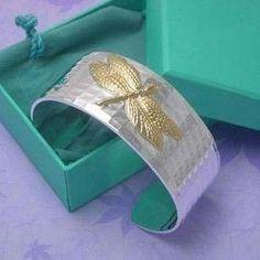 Solid Silver Dragonfly Bangle Bracelet