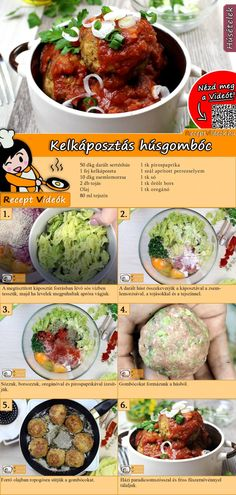 Kelkáposztás húsgombóc recept elkészítése videóval My Recipes, Cooking Recipes, Favorite Recipes, Good Food, Yummy Food, Hungarian Recipes, Healthy Cooking, Street Food, Food And Drink