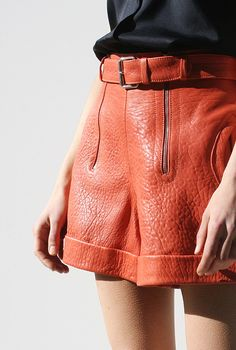 colored leather shorts