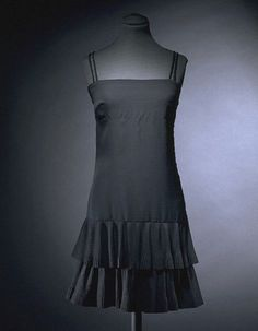 This evening mini-dress in black crepe was designed by Mary Quant for her Ginger Group collections in 1967-1968
