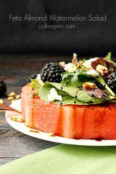 Feta Almond Watermelon Salad.  Great presentation