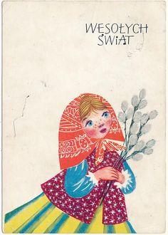 Iwaszkiewicz Wesołych Świąt Easter In Poland, Polish Easter, Polish Folk Art, Art Costume, Easter Art, Unusual Art, Vintage Easter, Vintage Postcards, Folklore