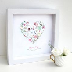 Personalised Golden Anniversary Pastel Button Heart