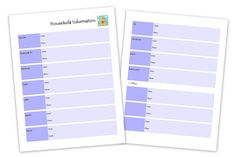Emergency Binder printables - great way to keep important info at the tips of your fingers!