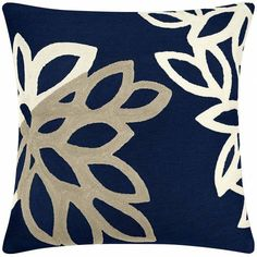 Judy Ross Textiles Hand-Embroidered Chain Stitch Lagoon Throw Pillow navy/cream/oyster