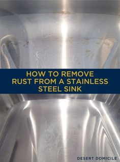 How to Remove Rust From a Stainless Steel Sink - vinegar & baking soda paste does it! Paste needs to be just slightly runnier than toothpaste - let it sit for rub it in, let it sit more, rust should be gone. Deep Cleaning Tips, House Cleaning Tips, Cleaning Solutions, Spring Cleaning, Cleaning Hacks, Cleaning Products, Clean Baking Pans, Thing 1, How To Remove Rust