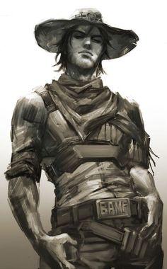 Overwatch: my boi McCree Character Concept, Character Art, Concept Art, Character Design, Video Game Art, Video Games, Arte Dc Comics, Overwatch Fan Art, Overwatch Mercy