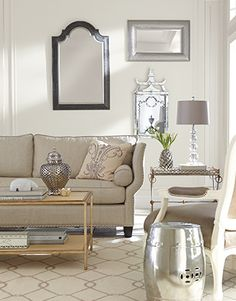 Living room using SW 7008 Alabaster paint.