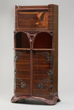 "** Louis Majorelle (French, 1859–1926), Nancy, ""The Eagle's Nest"" Armoire, Mahogany, Coromandel Veneer, Fruit Wood Inlay and Wrought Iron Mounts, 1900."