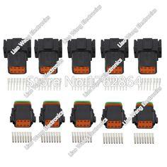 Black 5 Sets DJ3081Y-1.6-11/21 Deutsch Connectors 8 Pin DT04-8P/DT06-8S  waterproof wire electrical connector plug 22-16AWG