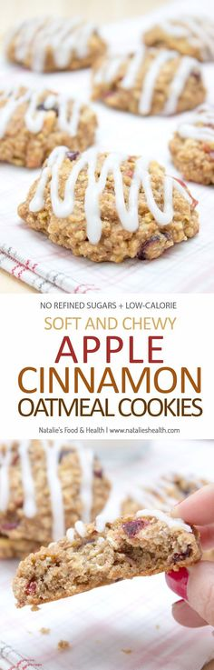 Fragrant, soft and chewy Apple Cinnamon Oatmeal Cookies are perfect high-fiber breakfast or healthy snack ready in just 20 minutes. These cookies are very nutritious, made with all healthy ingredients(Vegan Oatmeal Cookies) Healthy Cookie Recipes, Healthy Sweets, Apple Recipes, Healthy Baking, Baking Recipes, Dessert Recipes, Healthy Snacks, Apple Cinnamon Oatmeal, Cinnamon Apples