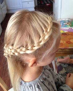 5-strand lace-braid half-up do