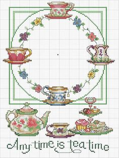 Cross-stitch Any Time is Tea Time Clock-face. no color chart available, just use pattern chart as your color guide. Point de croix -m cross stitch Cross Stitch Kitchen, Cross Stitch Love, Counted Cross Stitch Patterns, Cross Stitch Charts, Cross Stitch Designs, Cross Stitch Embroidery, Ribbon Embroidery, Embroidery Patterns, Crochet Cross