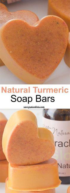 DIY natural/ organic Turmeric Soap Bars. Natural diy, skincare, beauty tips, skincare tips and trick, beauty tricks.