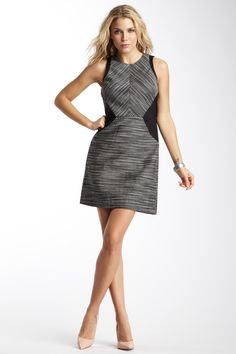 Kenneth Cole Mixed Media Flared Dress