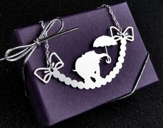 Elephant necklace - silver tone stainless steel silhouette statement necklace - circus jewelry $20