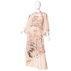 Boho Floral Chiffon Ruffled Dress with Cape Chiffon Floral, Chiffon Ruffle, Ruffle Dress, Strapless Dress, Chiffon Dresses With Sleeves, Cape Dress, Day Dresses, Kimono Top, 1970s