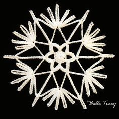 365 Crochet Snowflakes By Belle TracyLearn how to make a crochet snowflake and other free craft projects. Free Crochet Snowflake Patterns, Christmas Crochet Patterns, Crochet Snowflakes, Crochet Stitches Patterns, Crochet Motif, Crochet Doilies, Christmas Knitting, Crochet Angels, Crochet Stars