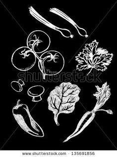 Vector set of hand drawn textured vegetable illustrations in vintage chalkboard style Stock Photo - 19670362 Chalkboard Text, Vintage Chalkboard, Chalkboard Designs, Chalkboard Ideas, Cafe Menu Design, Vegetable Illustration, Food Icons, Chalk Drawings, Food Drawing