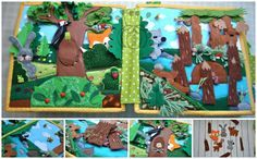 Quiet book about animals large format 25 cm by 25 cm (9.84 inches by 9.84 inches). The book is 14 pages with stories about the animals of their habitat. The cover Stylized animals: giraffe, elephant ears and a plush monkey with movable legs. 1.2 page - north and south poles. On these pages, different materials are used in texture: soft fleece, felt. Pocket with zipper fish. At the South Pole penguins inhabit them ride on an ice floe. Icebergs puzzle Velcro. Page 3.4 - wood and forest…