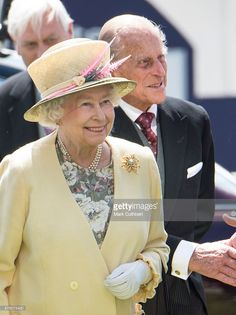 Queen Elizabeth II and Prince Philip, Duke of Edinburgh arrive on Derby Day at Epsom Racecourse on June 6, 2015 in Epsom, England.