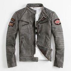 2016 New Men's Leather Jacket Slim Short Coat Collar Indian Totem Embroidery Motorcycle Jackets Locomotive