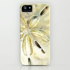 Dollar in the Sand iPhone & iPod Case by Cindy Lou Bailey  - $35.00.  A watercolor painting of a sand dollar on Hot Press Arches watercolor paper. #watercolor #sanddollar #beach #nautical #beach #sand #prints #iphone #iphonecase