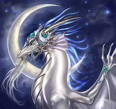Moon Dragon  #dragon #white/blue  #fantasy #art Dragon Horse, Dragon Rider, Dragon Age, Magical Creatures, Fantasy Creatures, Cool Dragons, Dragon's Lair, Dragon Pictures, Beautiful Dragon