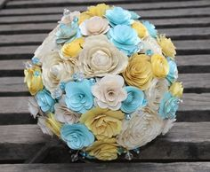 Pale Yellow Blush Blue Bouquet Made of Wood and Fossilized Flowers