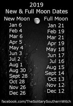 Witch's lunar calendar New moon, full moon dates 2019 New Moon Rituals, Full Moon Ritual, Full Moon Spells, Moon Schedule, New Moon Full Moon, Moon Calendar, 2019 Calendar, Calendar Wall, Wall Calendars