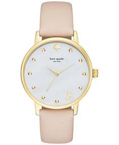 kate spade new york Women's Monogram Metro Vachetta Leather Strap Watch 34mm KSW1098 - Watches - Jewelry & Watches - Macy's
