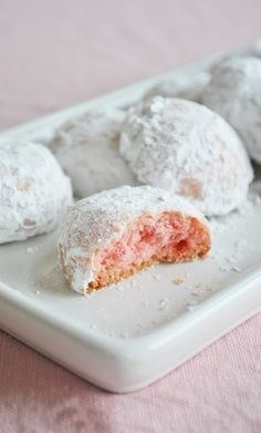 Mexican wedding cookies w/ added color before the powdered sugar. Yumm!!