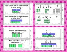 Great task cards to practice decomposing, adding, and subtracting fractions. They support CCSS 4.NF.3. $