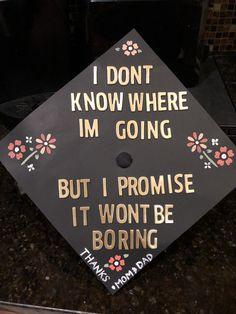 Graduation cap Flowers David Bowie Quote Graduate grad decoration