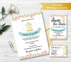 Printable Wedding Invitation Suite, Gold Birdcage, Customizable Wedding Invite, DIY Wedding Invitation Set D130  5x7 InvitationDIGITAL FILES:  * Allows you to print the artwork yourself, or have it printed very inexpensively.What means you can print the artwork as many times as you like, which makes a great gift solution.  * Save time and money- no shipping costs to pay and you can get your artwork instantly or within 24 hours for personalized prints!  This is a digital product no physical…