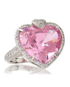 Lola Pink Crystal Heart Ring by Judith Ripka at Last Call by Neiman Marcus.