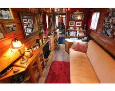 Perfect narrowboat interior - cozy with a traditional feel plus lots of books!