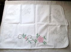 VINTAGE TABLE RUNNER/DRESSER SCARF- Stamped with Roses for Embroidery