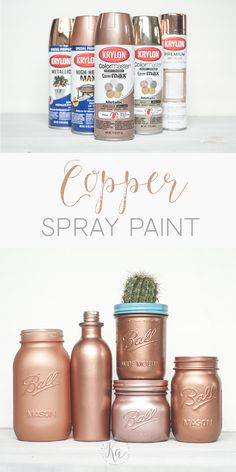 Rose Gold Spray Paint Copper spray paint colors and rose gold. Copper Spray Paint, Spray Paint Colors, Spray Painting, Copper Paint Colors, Paint Colours, Rose Gold Kitchen, Copper Kitchen, Mason Jar Crafts, Mason Jars