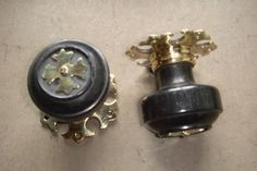 Pair of Victorian Gothic Ebony & Brass Door Knobs