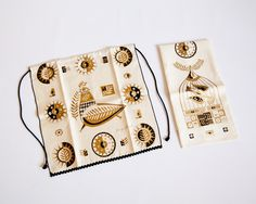 Mid Century Georges Briard Connoisseur Black and Gold Printed Linen Towel And Apron Set In Box Rooster Dove Leaves.