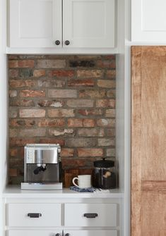 A designated separate spot to keep your coffee maker and coffee supplies is a really functional way to keep countertops feeling clear of clutter. Especially since, for many, this is an appliance that's used daily.