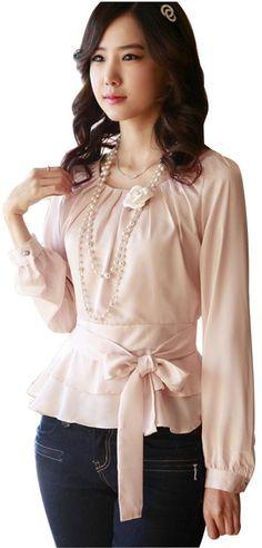 DPO Women's Chiffon Pleated Slim Fit Belt Long Sleeve Round Neck Blouse at Amazon Women's Clothing store: