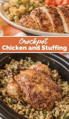 This Crockpot Whole Chicken and Stuffing is a simple yet delicious one-pot meal that is great dish for the holidays or any night of the week. via @familyfresh Family Fresh Meals, Easy Family Dinners, Quick Easy Meals, Family Recipes, Best Crockpot Chicken, Slow Cooker Chicken, Chicken Receipe, Baked Chicken, Slow Cooker Recipes