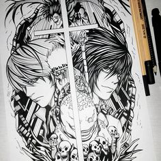 '' I'm going to find and dispose of you, if it's the last thing I do!! I'm....JUSTICE!!'' -L and Light  #DeathNote #L #Lawliet #Ryuzaki #Light #LightYagami #Kira #MisaAmane #Misa #Ryuk #Rem #Shinigami #drawing #drawings #draw #zeichnung #art #sketch #inking #ink #anime #animedrawing #manga