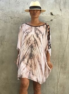 Dresses - $40.99 - Rayon Stripe 3/4 Sleeves Above Knee Casual Dresses (1955125798)