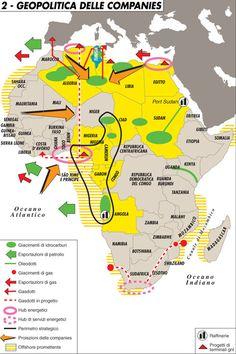 La carta mostra l'Africa dal punto di vista delle companies: giacimenti di idrocarburi e gas. Esportazioni di gas e petrolio. Gasdotti esist...